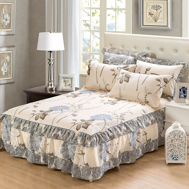 100 Cotton Bed Sheets Printed Double Layers Lace Sheet Skirt Mattress Protective Case Cover Bedskirt Free Shippping
