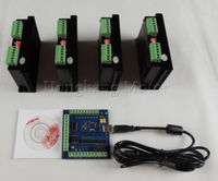mach3 CNC usb 4 Axis Kit, 4pcs TB6600 single axis stepper motor driver + 1pcs mach3 4 axis usb motion card 100Khz 12 24V