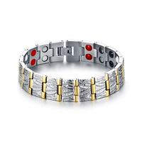 Mens Sleek Titanium Steel Magnetic Therapy Bracelets Men 2 Row 4 In1 Health Bracelet FIR Negative