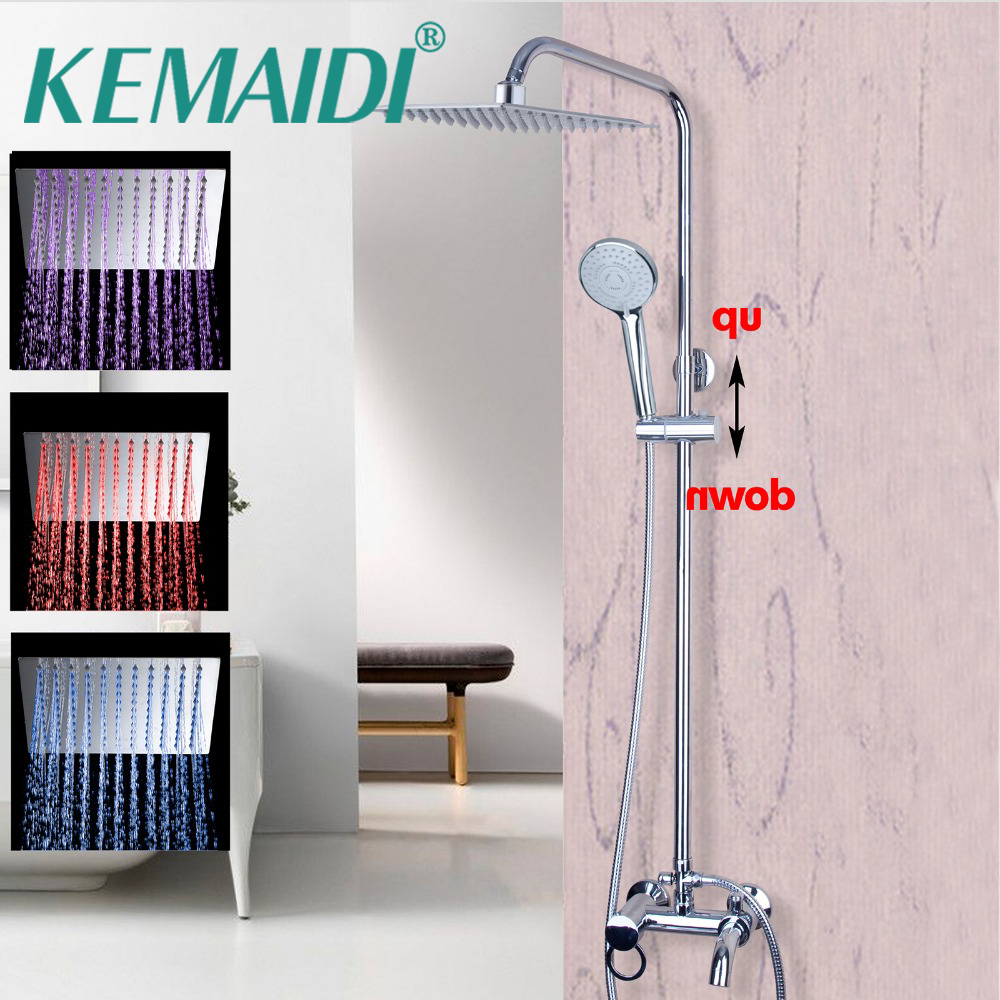 KEMAIDI High Quality LED Bathroom Rain Shower Head Chromed Finished Waterfall Rain Shower Set Bathroom Mixer Wall Mounted Tap kemaidi new modern wall mount shower faucet mixer tap w rain shower head
