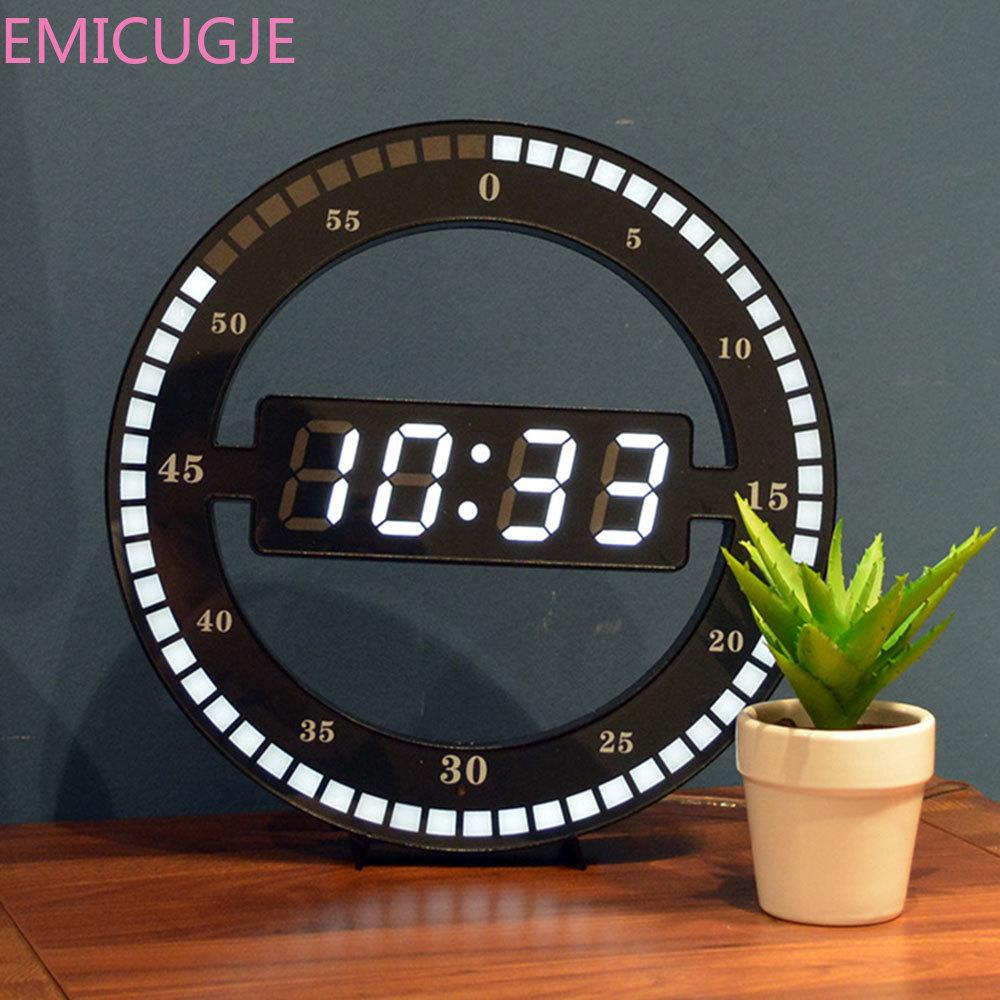 Adjust Brightness Digital Led Display Desktop Table Clock Creative Mute Hanging Wall Clock Black Circle Automatically