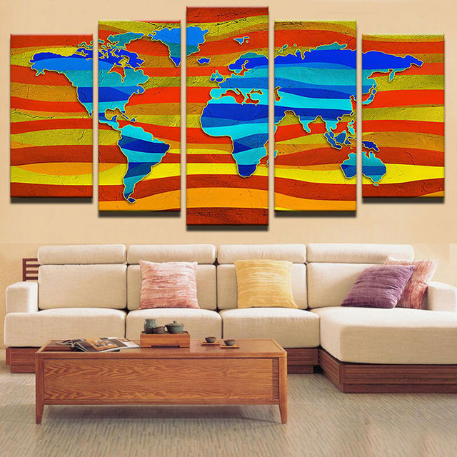 Modern decorative canvas art prints wall pictures for living room modern decorative canvas art prints wall pictures for living room picture 5 panels colourful world map gumiabroncs Gallery