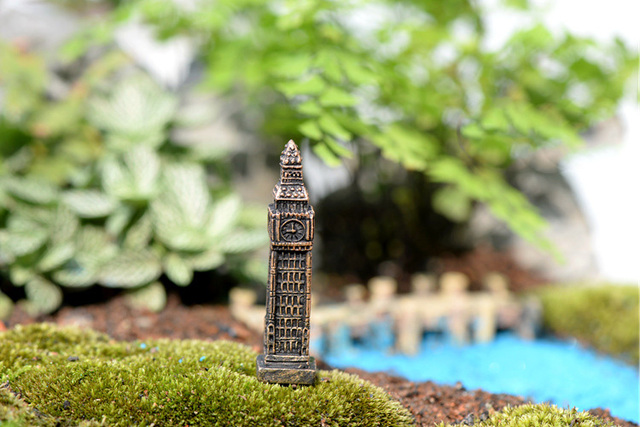 Big Ben Tower figures decorative mini fairy garden animal statue Home Desktop Gift Moss ornaments resin craft TNB070 6