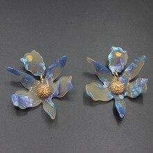 Fashion Atmosphere Acrylic Resin Flower Earrings Silver Needle Earrings Female Earrings Jewelry  361