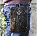 Nuevo de Calidad Superior de Cuero Verdadero Genuino de los hombres vintage Marrón Pequeño Crossbody Bolso de La Correa Paquete de La Cintura Caída Bag611-11