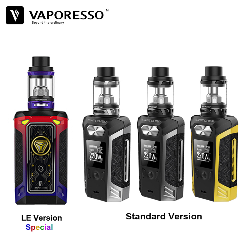 E-Cigarette Vape Kit Vaporesso Switcher With NRG Tank Electronic Cigarette With 220W Switcher 510 Box Mod Without Battery small cigarette box vending machine bjy b50 with light box