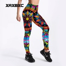 XAXBXC 4108 Sexy Girl Pencil Pant Colorful Mandala Floral Printed Elastic Slim Fitness Workout Push Up