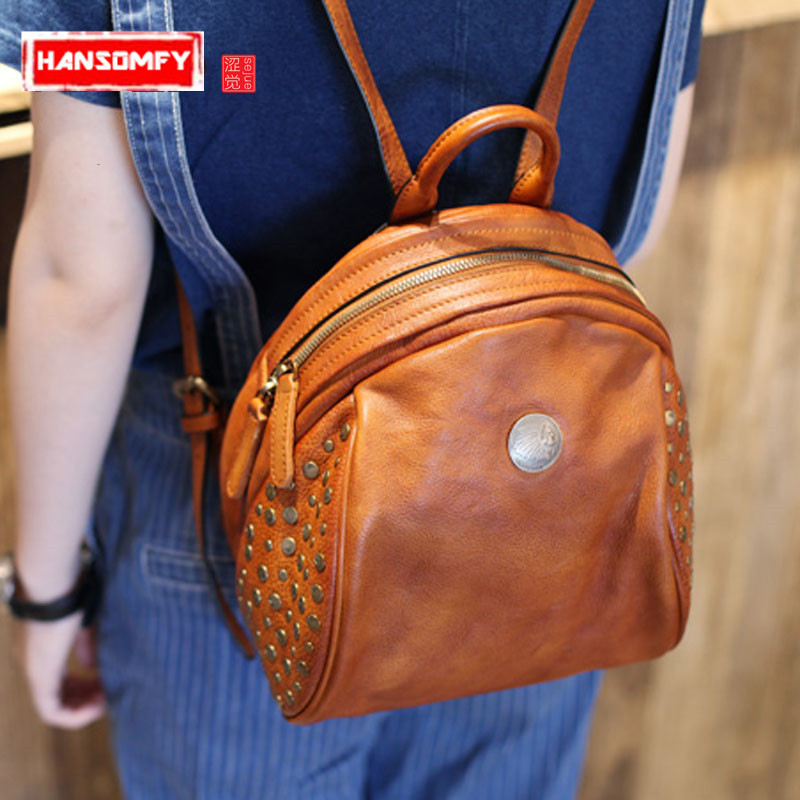 new College Wind genuine Leather women Shoulder Bag Tide Hundred Retro female Rivet Handmade First Layer Leather Backpack new tide package suede women bohemian wind retro backpack pu chain men and women lovers tassel bag
