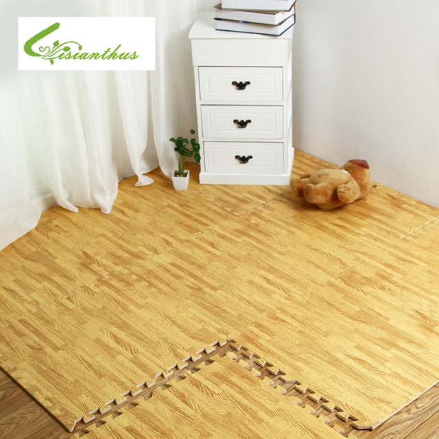 soft eva puzzle crawling pad interlock foam wood texture floor mat waterproof rug for child bedroom - Puzzle Wood Flooring