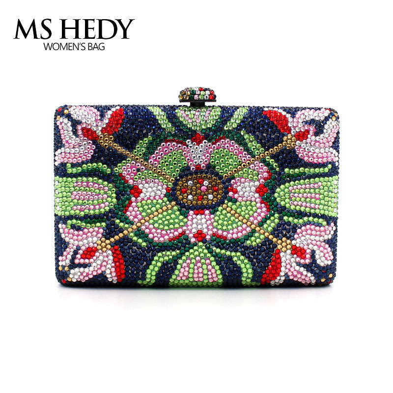 Colourful Rhinestones Flower For Party Women Handbag Full Of Crystal Bridal Wedding Evening Bag New Clutch Shoulder female Purse