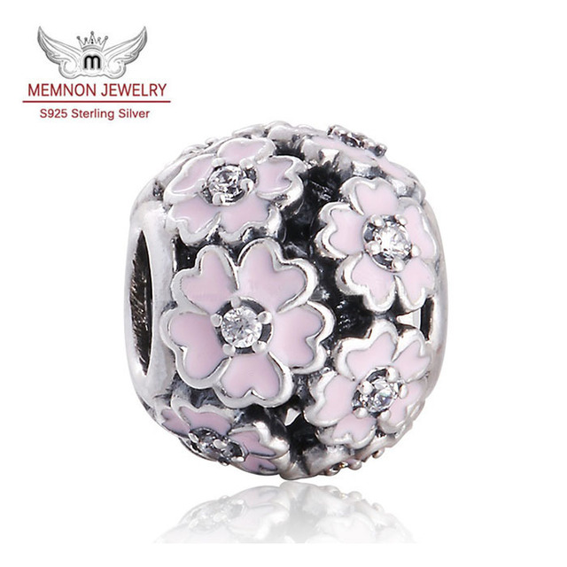 Pink Enamel Primrose charms 925 Sterling Silver jewelry With Lavender Enamel Jewelry For Women Fit  brand beads Bracelets DIY