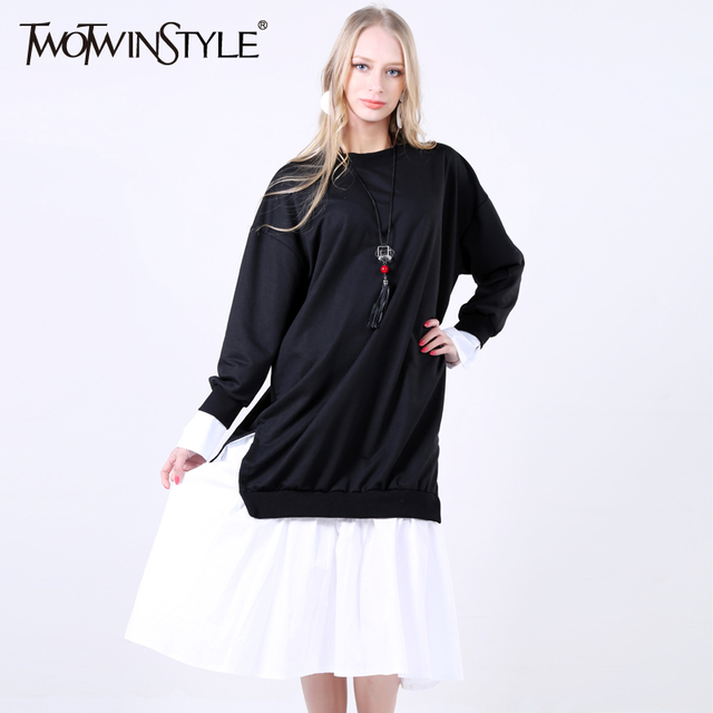 [TWOTWINSTYLE] 2017 Spring Korean Patchwork Fake Two Piece Sweatshirt Dress Women New Fashion Clothing