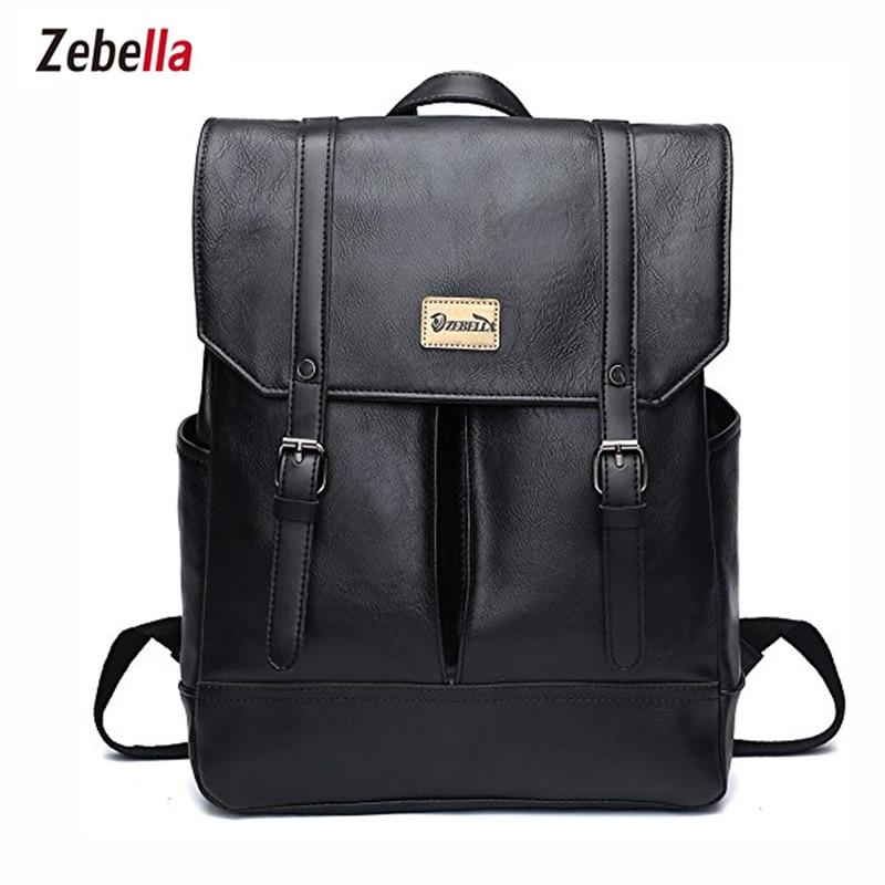 Zebella Black Fashion Women Backpack Youth Pu Leather Backpacks For Teenage Girls Female School Shoulder Bag Bagpack Mochila