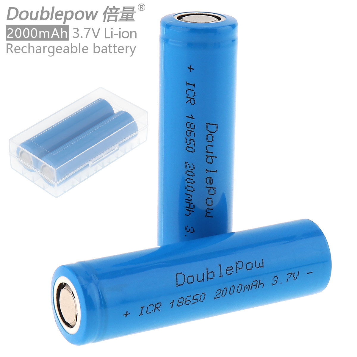 Doublepow 2pcs 18650 2000mAh 3.7V Li-ion Rechargeable Battery with Safety Relief Valve + Portable Battery Storage Box