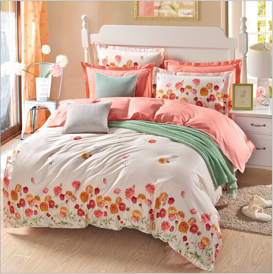 100 cotton home textile reactive print 4pcs comforter for Luxury cotton comforter sets