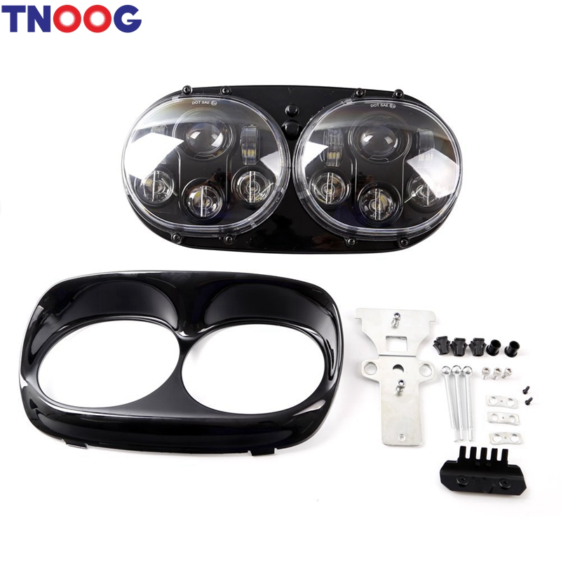 TNOOG 7 Inch Motorcycle Projector Day Maker Dual LED Headlight for Harley Davidson Daymaker Road Glide 2004 2013