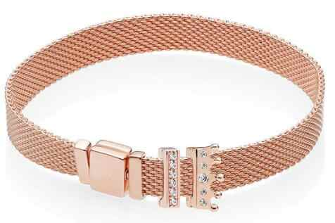 Echt 925 Sterling Silber Gold Rose Original Reflexions Armband Geschenk Set für Frauen Perle Charme Pan Armreif DIY Schmuck