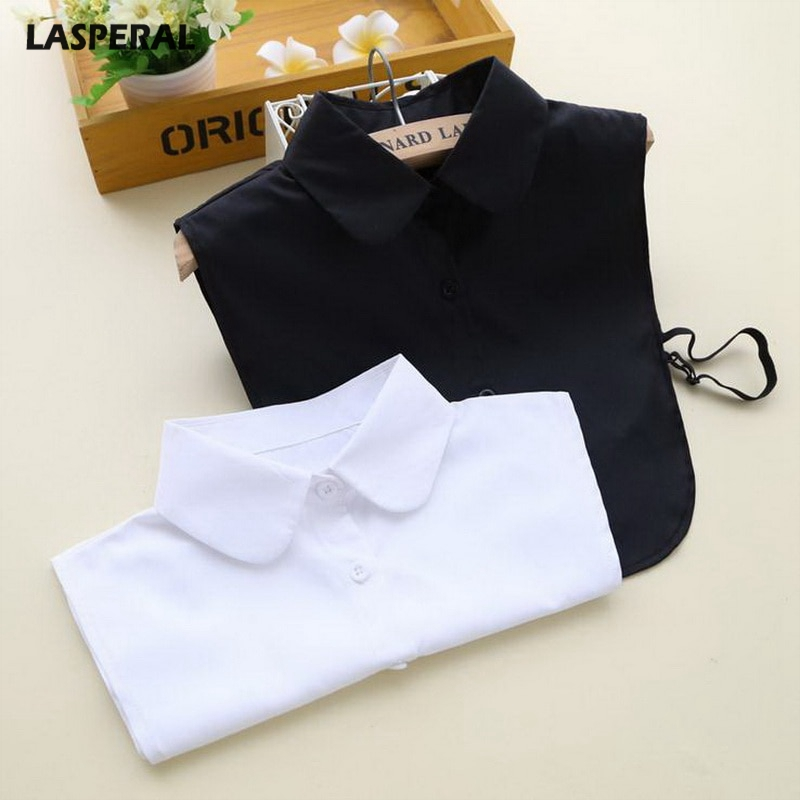 LASPERAL Casual Fake Collar For Shirt Detachable Collars Solid Shirt Lapel Blouse Top Men Women Black White Clothes Accessories