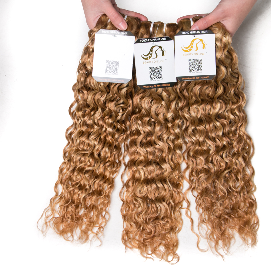 Ali-Beauty #P27/613 Water Wave Human Hair Extensions Remy Hair Weft Ombre Color Blonde Hair 12