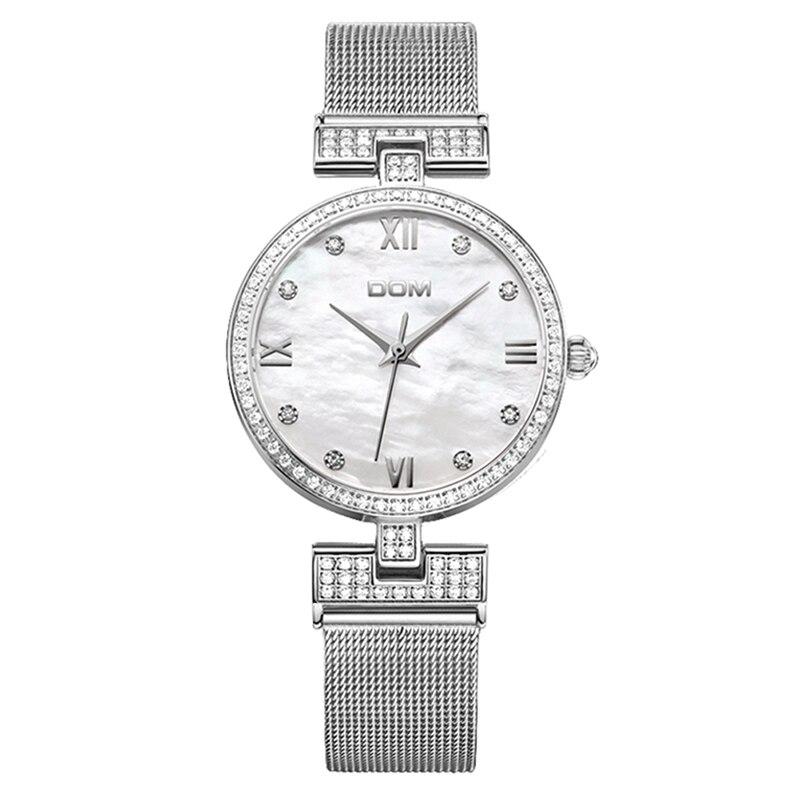 DOM Sliver Mesh Stainless Steel Watches Women Top Brand Luxury Korean Casual Quartz Clock Ladies Wrist Watch Relogio Feminino