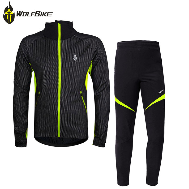 WOSAWE winter thermal cycling kit for men fleece jersey jacket pants bike bicycle sport suits windproof cycling clothing wosawe cycling jersey sets winter thermal sports pro jersey triatlon bike bicycle clothing jackets pants men women