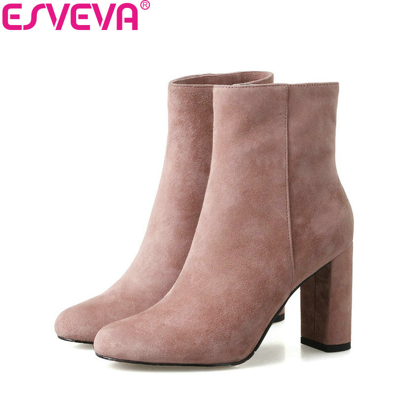 ESVEVA 2018 Women Boots Square Heels Kid Suede Sewing Genuine Leather+PU Ankle Boots Round Toe High Heel Ladies Boots Size 34-39 esveva 2016 sequined platform women boots autumn fashion boots wedges high heel leisure round toe ladies ankle boot size 34 39