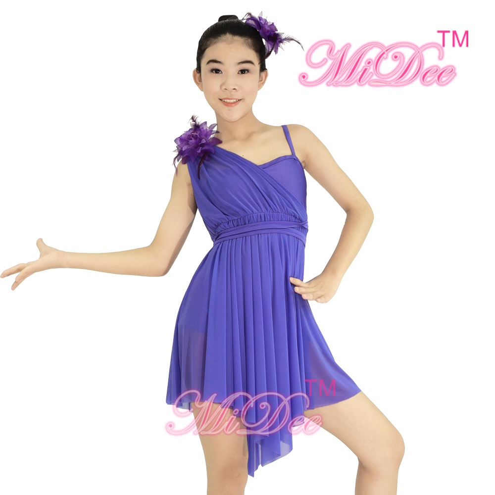 8e1ff507b MiDee Lyrical Dance Dress One Shoulder Costume Girl's Camisole Floral Diagonal  neck High low Skirt-in Ballet from Novelty & Special Use on Aliexpress.com  ...