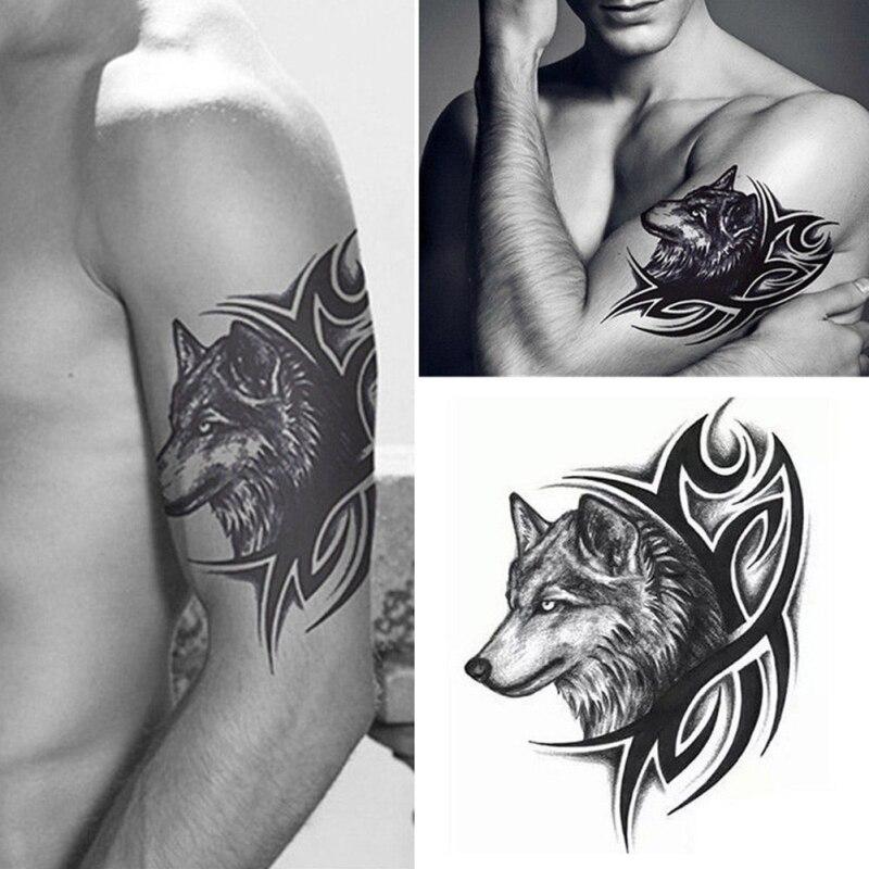 Poseida Hombres Lobo Cabeza Tatuaje Temporal Etiqueta Impermeable
