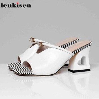 Lenkisen genuine leather mules women slip on strange style fretwork high heel rhinestone fasteners crystal-studded sandals L37