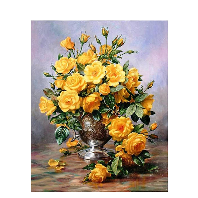 Yellow flower vase diy coloring painting by numbers diy oil yellow flower vase diy coloring painting by numbers diy oil paintings home decor wall pictures decoration mightylinksfo