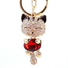 Krystalová kočička s červeným kamenem – přívěsek