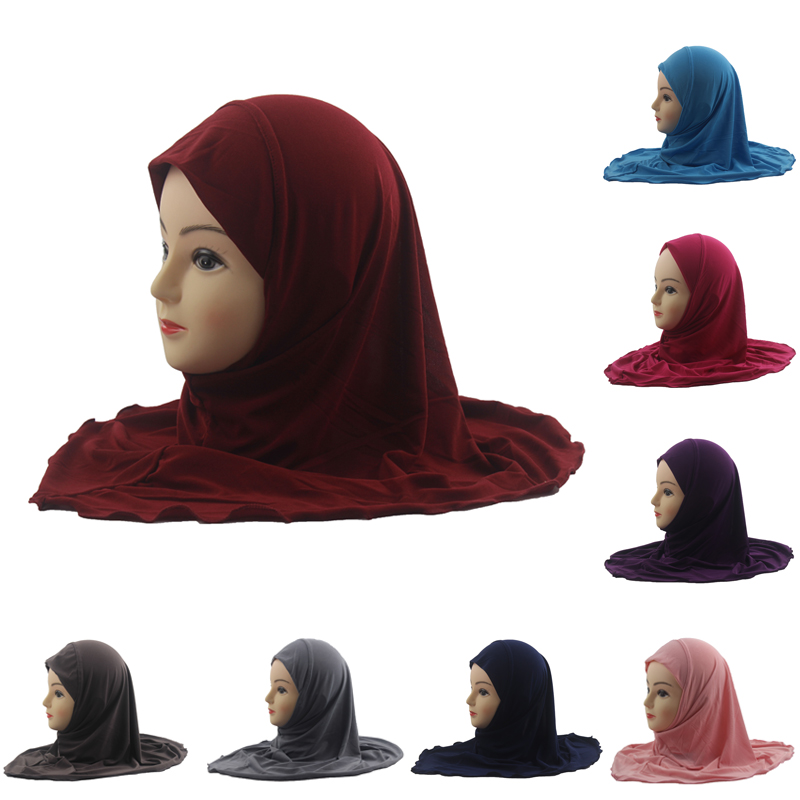 Girls Kids Head Scarf Muslim Hijab Islamic Arab Scarf Shawls Soild Color Soft And Stretch For 7 To 12 Years Old Girls