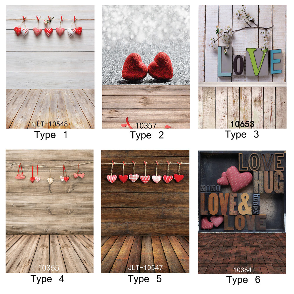 Photographic Background Valentine's Day Love Heart Wood Plank Vinyl Backdrop Fond Studio Photo for Weddings Children Newborn 8x10ft valentine s day photography pink love heart shape adult portrait backdrop d 7324
