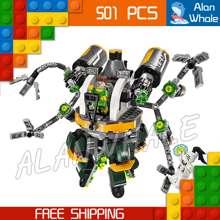501pcs Super Heroes Spider-Man Doc Ock's Tentacle Trap 07040 Model Building Blocks Bricks Kit Compatible With lego пластилин spider man 10 цветов