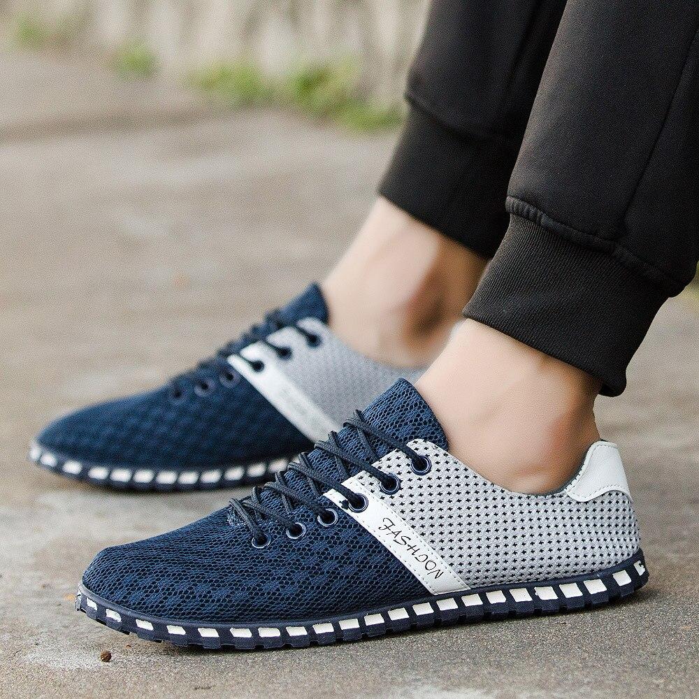 Hommes Net De Confortable gris Lism 2018 Pois Respirant Nouveau Loisirs bleu ardoisé Et Sneakers Sauvage Lumière Plat Chaussures D'été Noir Casual wt55APq