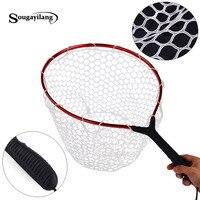 Sougayilang Rubber Fly Fishing Landing Net 60x36x27cm Red Trout Large Mesh Fish Net 350g Monofilament Hand