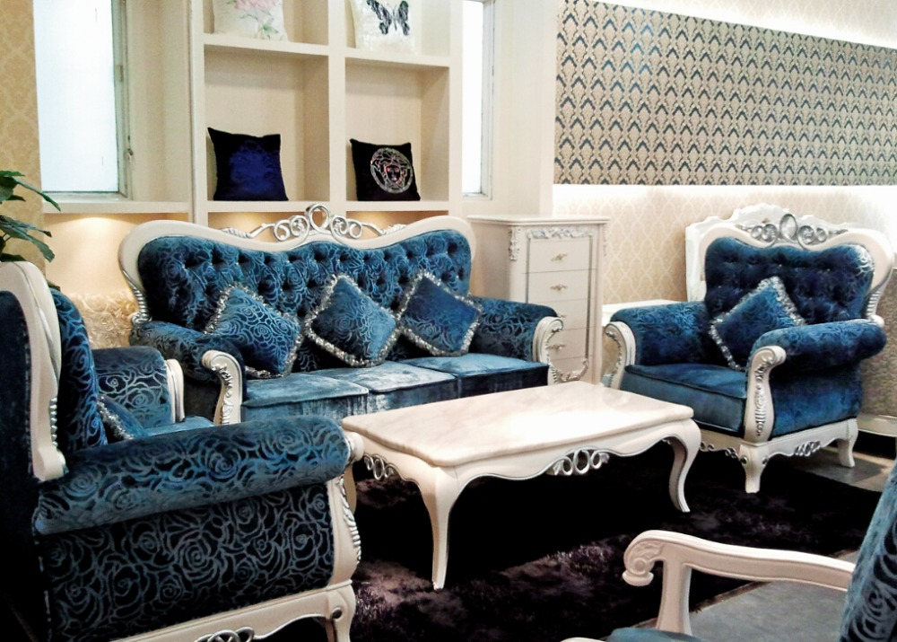 Italian Blue Fabric Sofa Sets Living Room Furnitureantique Style Wooden Baroque Furniture From Foshan Market