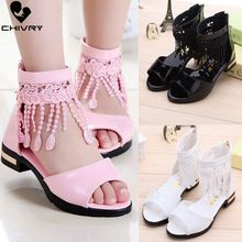 Chivry New 2019 Summer Girls Sandals Fashion Tassel Princess Shoes Children Kids Baby High Heel Party Beach