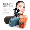 Women Cosmetic Bag Makeup Bag Women Travel Toiletry Bag Professional Storage Brush Organizer Make Up genuine leather Tool Clutch