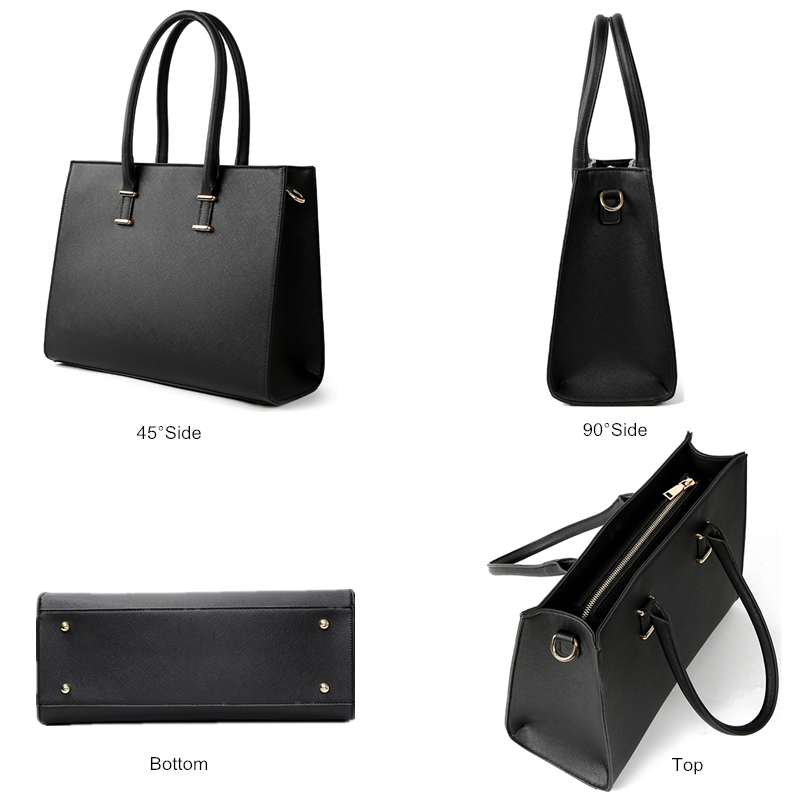 LostSoul brand women leather handbags for laptop bags briefcase Top Handle bags designer business shoulder ladies totes black in Top Handle Bags from Luggage Bags