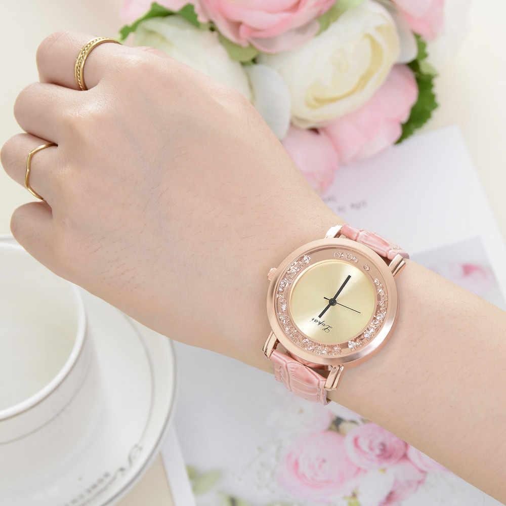 2018 Winter top brandhigh qualität aus echtem lederband frauen uhren luxus marke diamant rosa gold uhren für damen Japan