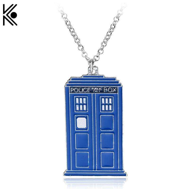 New Blue TARDIS Necklace Doctor Who Police Box Pendent Necklace Dr. Mysterious House Necklace maxi punk statement jewelry
