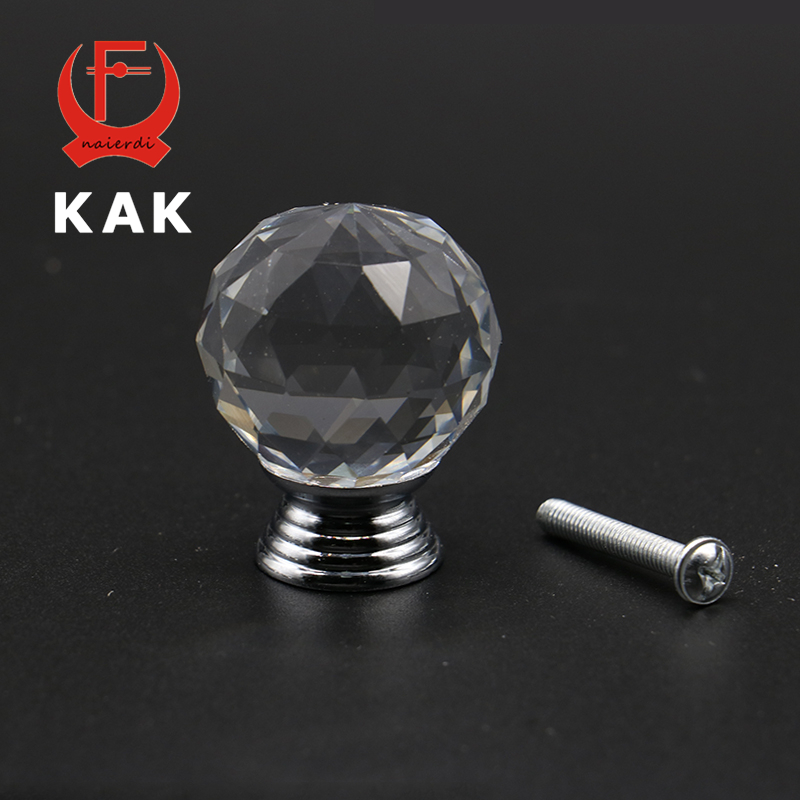 KAK 20-40mm Crystal Ball Design Clear Crystal Glass Knobs Cupboard Drawer Pull Kitchen Cabinet Wardrobe Handles Hardware 24 x 30mm clear crystal glass drawer cabinet wardrobe knobs kitchen door handles