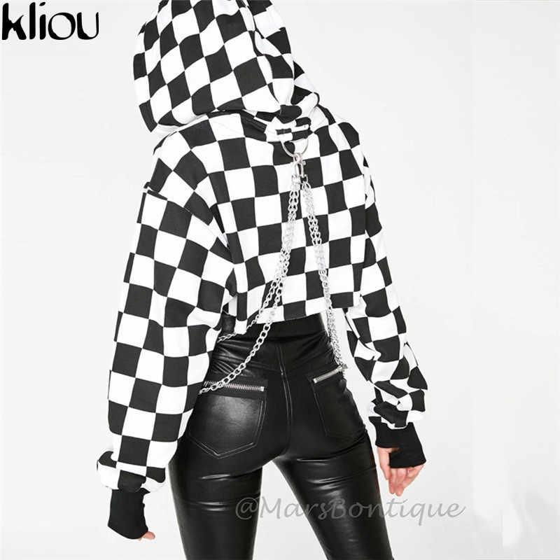 Weirdgirl mujeres de manga completa Hoodies negro blanco Plaid cadena con capucha otoño mujer moda calle sudadera con cadena Hoodies