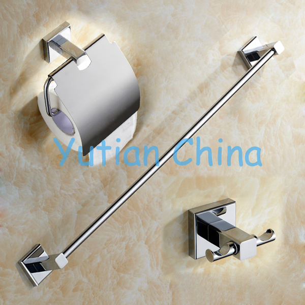 free shippingsquare brass chrome bathroom accessories setrobe hookpaper holdertowel bar3 pcsset wholesale retail yt 11400