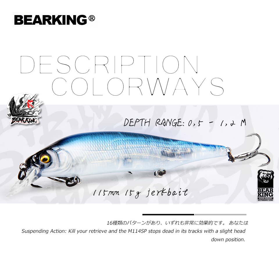 BEARKING 2019 Hot fishing lures, assorted colors, minnow crank  115mm 15g,Tungsten weight system wobbler model crank bait(China)