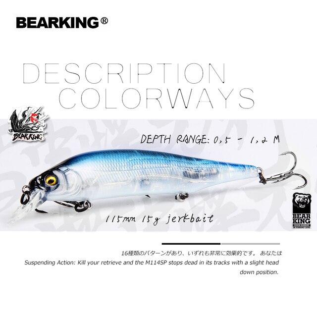 Barbearking 2019 Señuelos de Pesca calientes, colores surtidos, manivela de minnow 115mm 15g, sistema de peso de tungsteno modelo wobbler cebo de manivela