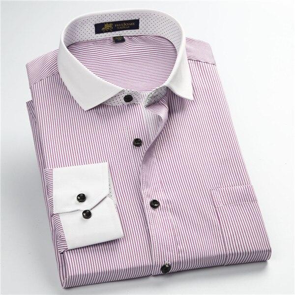 Pauljones 57xx дешевый воротник дизайн с длинными рукавами для мужчин s полосатые рубашки Повседневное платье Мужская рубашка в клетку Высококачественная Мужская одежда - Цвет: 5755
