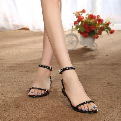 Mujeres De Planas Señora Sandalias Piso Marea América Nuevas Tobillo Zapatos Las Europa rojo Y La Correa Del Jalea Verano blanco 2016 Romano Negro H6wqtI