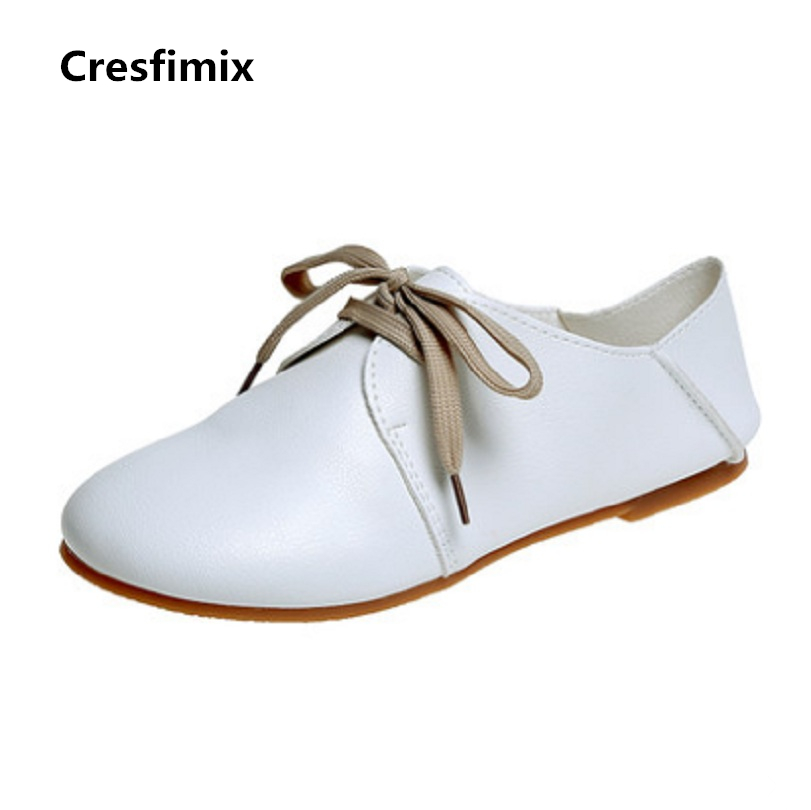 Cresfimix women cute soft pu leather lace up spring flat shoes female casual dark brown summer loafers lady comfortable shoes cresfimix women cute spring